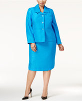 Le Suit Plus Size Three-Button Shimmer Skirt Suit