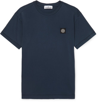 Stone Island Logo-Appliqued Garment-Dyed Cotton-Jersey T-Shirt