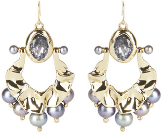 Alexis Bittar Pearl Studded Crumpled Swinging Wire Earring
