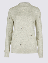 M&S Collection Cotton Rich Embellished Turtle Neck Jumper