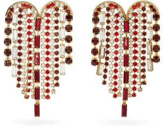 Rosantica Heart Crystal-embellished Fringe Earrings - Red Multi