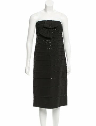 Valentino Sequin-Embellished Strapless Dress w/ Tags Black