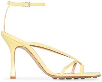 Bottega Veneta 90mm Square-Toe Leather Sandals