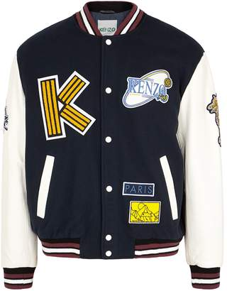 Kenzo Leather And Wool-blend Bomber Jacket