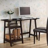 Baxton Studio Mott Modern Rubber Wood Sawhorse Legs Office Desk in Dark Brown