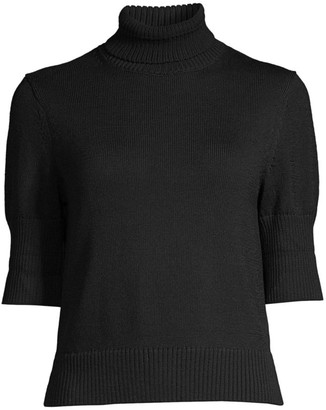 Lafayette 148 New York Rib-Knit Turtleneck Cropped Sweater