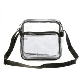 "clear K Cliffs 8"" Heavy Duty PVC shoulder bag High Quality Transparent Pouch See Through NFL AAF Stadium Approved Small Handbag with Adjustable Strap Black Trim"
