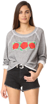 Wildfox Couture Three Rose Embroidered Sweatshirt