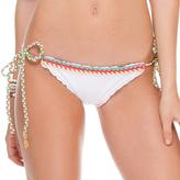 Luli Fama Multicolor Crochet Tie Side Ruched In White (L52802)