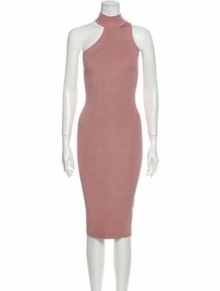 Cushnie Mock Neck Knee-Length Dress Pink