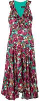 Saloni Rita Ruffled Devoré-velvet Dress - Fuchsia