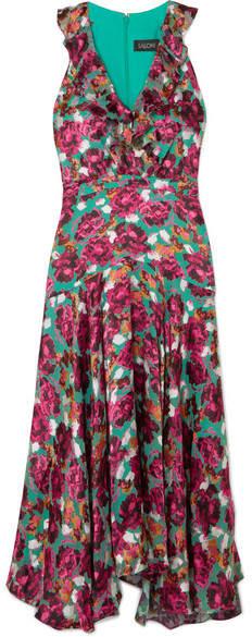 Saloni Rita Ruffled Devoré-velvet Dress