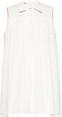 Miu Miu Ruched Details Bow Short Dress