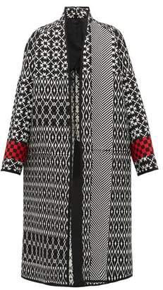 Haider Ackermann Geometric Jacquard Wool Coat - Womens - Black Multi