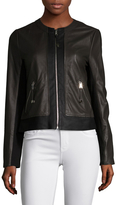 Via Spiga Women's Leather Collarless Colorblocked Jacket