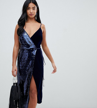 ASOS DESIGN Petite sequin and velvet cami wrap midi dress