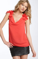 'Precious' Ruffle Shoulder Silk Blouse