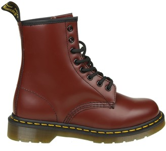 Dr. Martens Smooth Boots In Cherry Color Leather