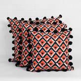 Bohemia Hand Block Print Geo Pom Pom Cushion