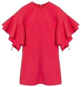 Carolina Herrera Double Ruffle Sleeve Mini Dress