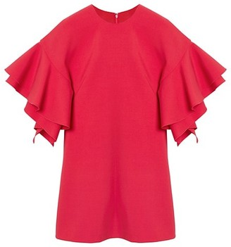Carolina Herrera Double Ruffle Sleeve Shift Dress