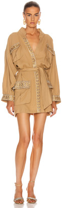 RAISA&VANESSA Embellished Pocket Trench Coat Dress in Camel | FWRD