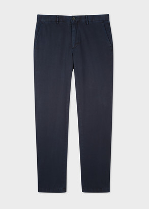 Men's Mid-Fit Dark Navy Blue Stretch-Cotton Chinos