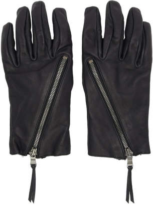 The Viridi-anne Black Leather Zip-Up Gloves