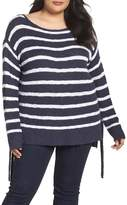 Caslon Tunic Side Tie Striped Sweater (Plus Size)