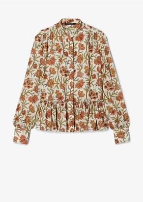 Derek Lam Indian Floral Long Sleeve Blouse With Ruffle Hem