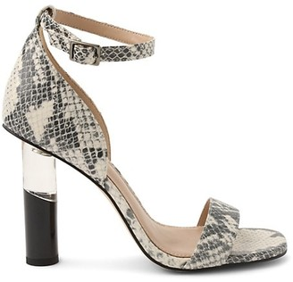 BCBGeneration Lexana Snakeskin-Print Leather Heeled Sandals