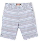 Micros Blue & Gray Stripe Shorts - Boys