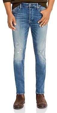 G Star 3301 Slim Fit Jeans in Antic Faded Ripped Marine