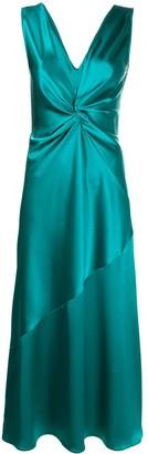 Pinko Bias Cut Plunge Maxi Dress