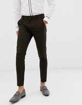 Asos Design DESIGN super skinny smart trousers in black with orange pin stripe