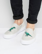 Asos Slip On Sneakers In Gray Canvas With Dinosaur Embroidery