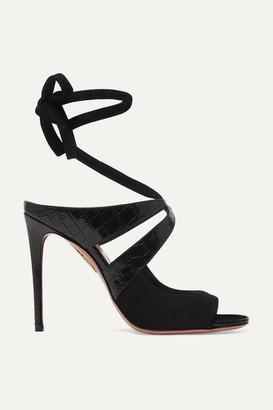Aquazzura Mabel 105 Croc-effect Leather And Suede Sandals - Black