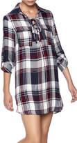 En Creme Plaid Shirt Dress