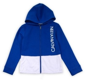 Calvin Klein Big Girls Colorblock Layered Zip Fleece Hoodie with Screenprint