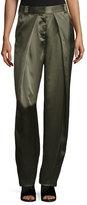 Rag & Bone Carlos Draped Silk Pants, Army Green