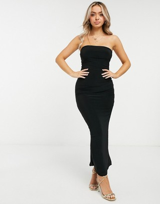 Club L London slinky bandeau maxi dress with thigh split in black