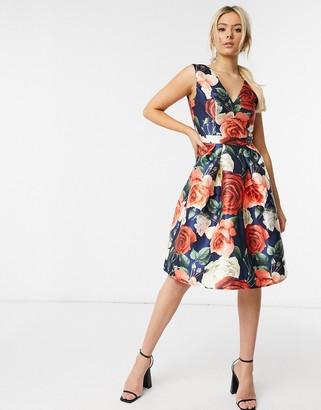 Chi Chi London v neck midi dress in navy floral