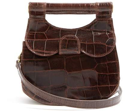 STAUD Madeline Crocodile Effect Leather Bag - Womens - Dark Brown