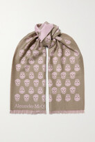 Thumbnail for your product : Alexander McQueen Reversible Fringed Intarsia Wool Scarf - Neutrals