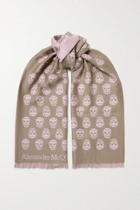 Alexander McQueen Reversible Fringed Intarsia Wool Scarf - Neutrals