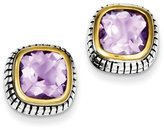 jewelryPot Sterling Silver 14k Gold-Plated Antiqued Synthetic CZ Earrings (0.4IN x 0.4IN )