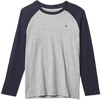 Tommy Hilfiger Raglan Long Sleeve T-Shirt (Big Kids) (Grey Heather) Boy's Clothing