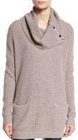 Neiman Marcus Waffle-Knit Cowl-Neck Sweater