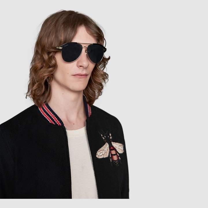 Gucci Specialized fit aviator metal sunglasses