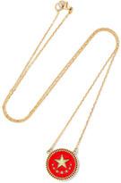 Foundrae Strength 18-karat Gold, Diamond And Enamel Necklace